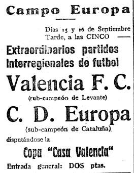 15.09.1928: CD Europa 4 - 1 Valencia CF