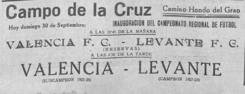 30.09.1928: Levante UD 1 - 2 Valencia CF