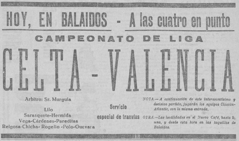 31.03.1929: Celta de Vigo 2 - 1 Valencia CF