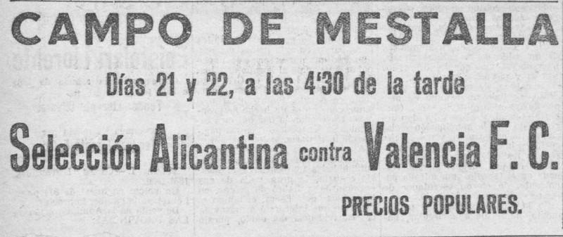 21.09.1929: Valencia CF 4 - 0 Alicante CF