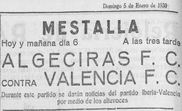 06.01.1930: Valencia CF 4 - 3 Algeciras CF