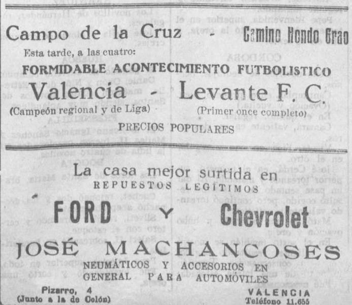 07.04.1931: Levante UD 1 - 2 Valencia CF