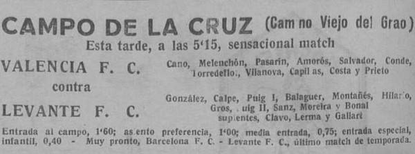 03.07.1932: Levante UD 3 - 1 Valencia CF