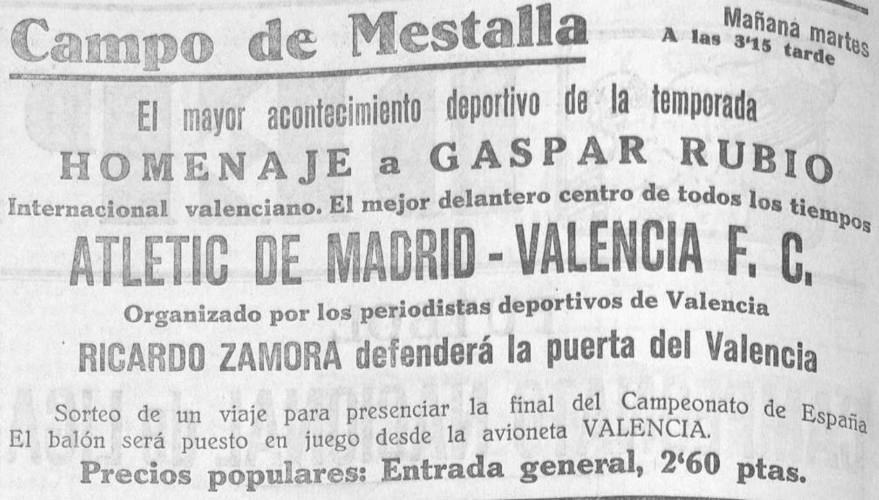 27.12.1932: Valencia CF 3 - 1 At. Madrid