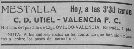 04.02.1934: Valencia CF 10 - 0 CD Utiel