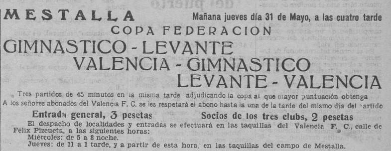 31.05.1934: Valencia CF 4 - 1 Levante UD