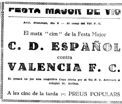 08.07.1934: RCD Espanyol 1 - 3 Valencia CF