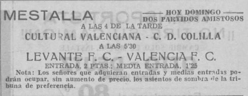 15.07.1934: Valencia CF 3 - 3 Levante UD