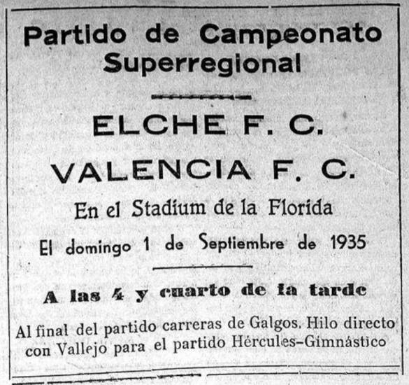 01.09.1935: Elche CF 1 - 4 Valencia CF