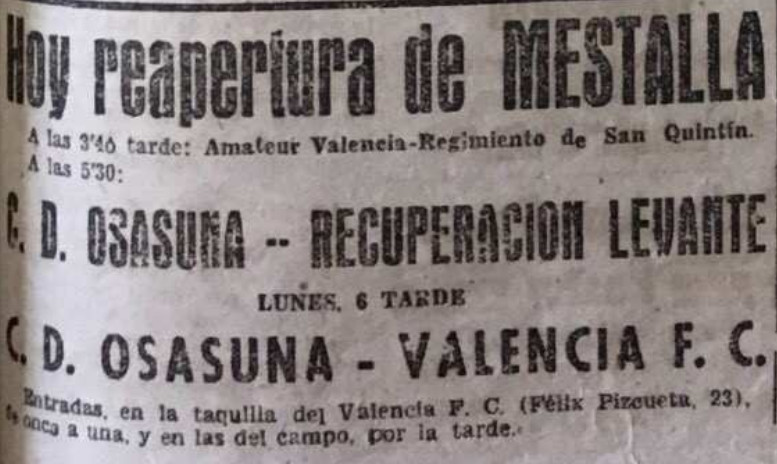 19.06.1939: Valencia CF 4 - 4 CA Osasuna