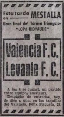 19.07.1939: Valencia CF 1 - 1 Levante UD