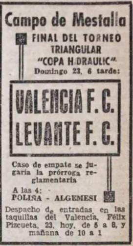 23.07.1939: Valencia CF 6 - 0 Levante UD