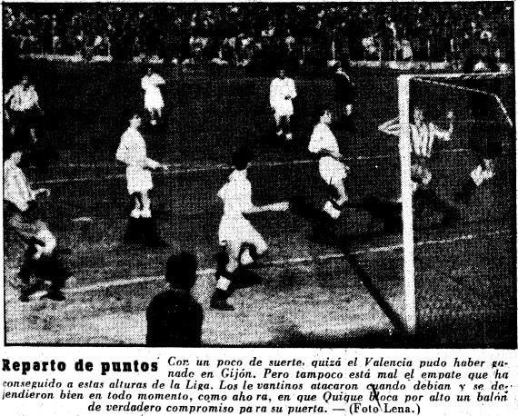 22.02.1953: Sporting Gijón 1 - 1 Valencia CF