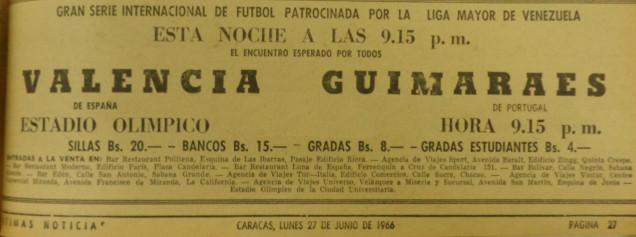 27.06.1966: Vit. Guimaraes 1 - 3 Valencia CF