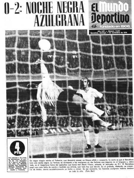 31.10.1970: FC Barcelona 0 - 2 Valencia CF