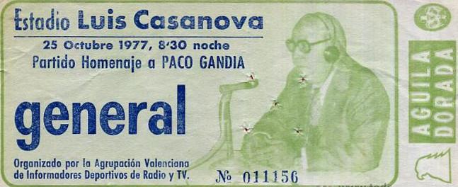 25.10.1977: Valencia CF 3 - 0 Levante UD