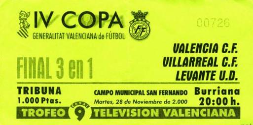 28.11.2000: Levante UD 1 - 0 Valencia CF